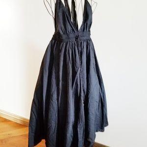 Lapis open back black dress.